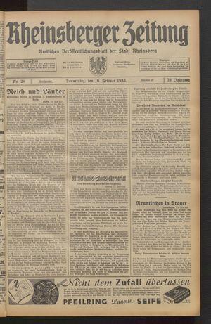 Rheinsberger Zeitung on Feb 16, 1933