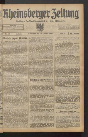 Rheinsberger Zeitung vom 18.02.1933