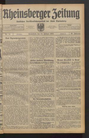 Rheinsberger Zeitung vom 25.02.1933
