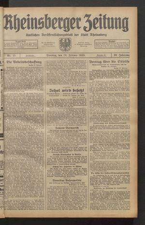 Rheinsberger Zeitung vom 28.02.1933