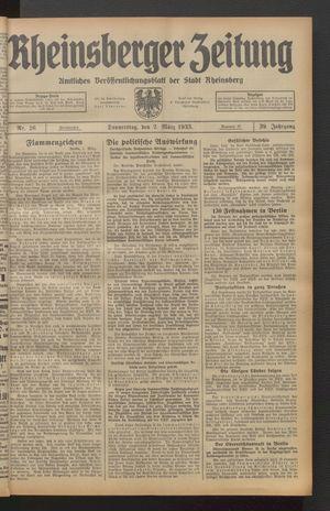 Rheinsberger Zeitung vom 02.03.1933