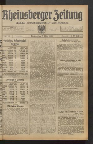 Rheinsberger Zeitung vom 07.03.1933