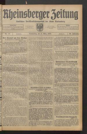 Rheinsberger Zeitung vom 09.03.1933