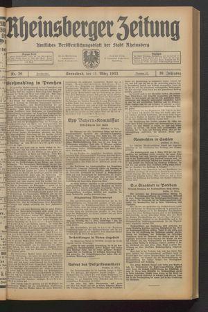 Rheinsberger Zeitung vom 11.03.1933