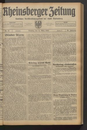 Rheinsberger Zeitung vom 14.03.1933