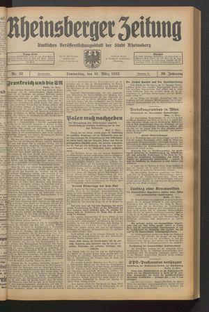 Rheinsberger Zeitung on Mar 16, 1933