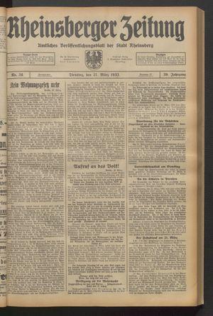 Rheinsberger Zeitung vom 21.03.1933