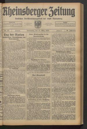 Rheinsberger Zeitung vom 23.03.1933