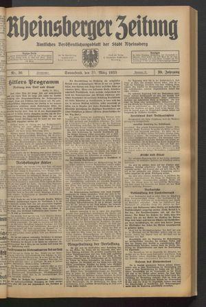 Rheinsberger Zeitung vom 25.03.1933