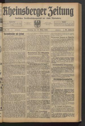 Rheinsberger Zeitung vom 28.03.1933