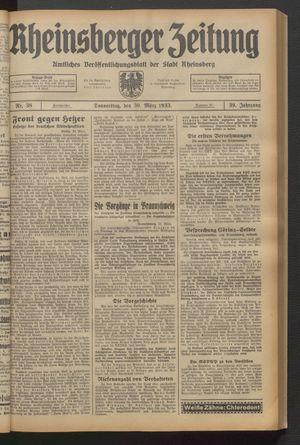Rheinsberger Zeitung vom 30.03.1933