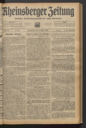 Rheinsberger Zeitung vom 01.04.1933