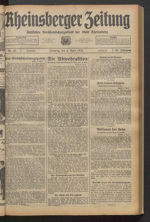 Rheinsberger Zeitung vom 04.04.1933