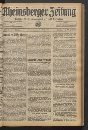 Rheinsberger Zeitung on Apr 6, 1933