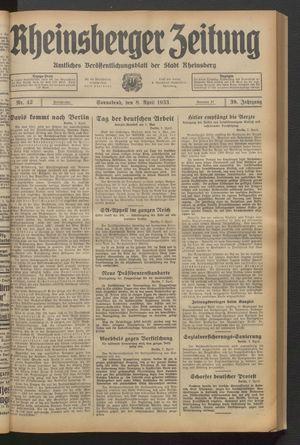 Rheinsberger Zeitung vom 08.04.1933