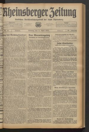 Rheinsberger Zeitung vom 11.04.1933