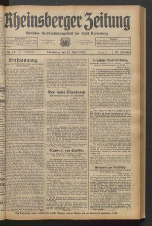 Rheinsberger Zeitung vom 13.04.1933