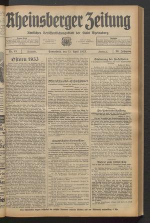 Rheinsberger Zeitung vom 15.04.1933