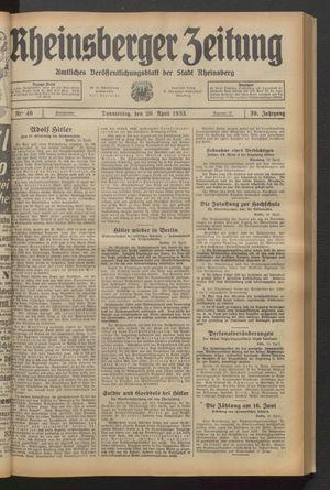 Rheinsberger Zeitung vom 20.04.1933
