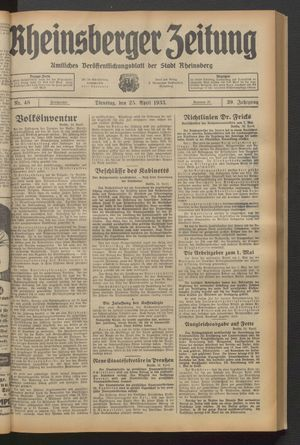 Rheinsberger Zeitung vom 25.04.1933