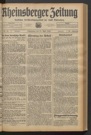 Rheinsberger Zeitung vom 27.04.1933