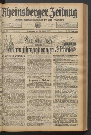 Rheinsberger Zeitung vom 29.04.1933
