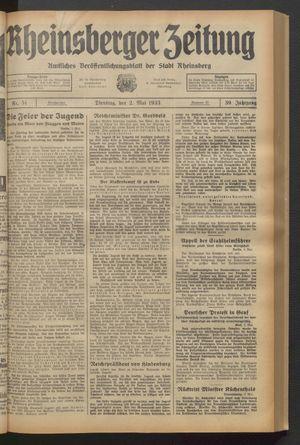 Rheinsberger Zeitung vom 02.05.1933
