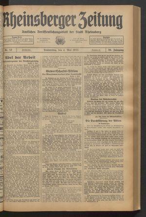 Rheinsberger Zeitung vom 04.05.1933