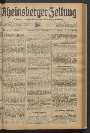 Rheinsberger Zeitung vom 06.05.1933