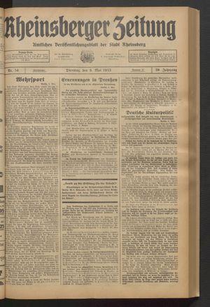 Rheinsberger Zeitung on May 9, 1933