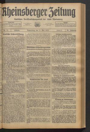 Rheinsberger Zeitung vom 11.05.1933