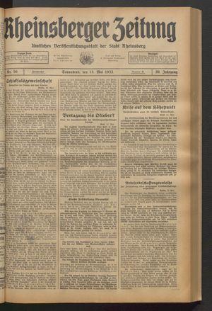 Rheinsberger Zeitung vom 13.05.1933
