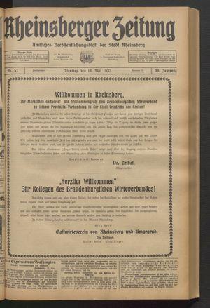 Rheinsberger Zeitung vom 16.05.1933