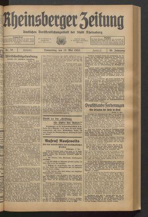 Rheinsberger Zeitung vom 18.05.1933
