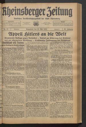 Rheinsberger Zeitung vom 20.05.1933