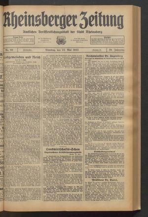Rheinsberger Zeitung vom 23.05.1933