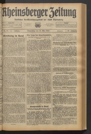 Rheinsberger Zeitung vom 25.05.1933