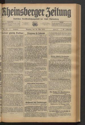 Rheinsberger Zeitung vom 30.05.1933