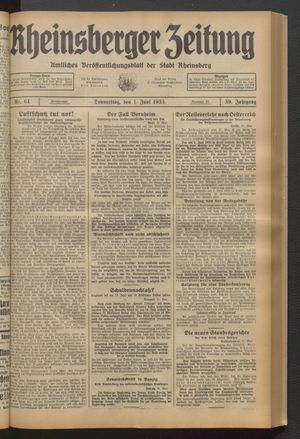 Rheinsberger Zeitung vom 01.06.1933