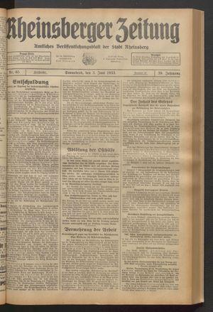 Rheinsberger Zeitung vom 03.06.1933