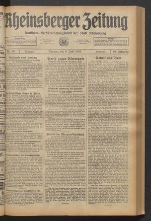 Rheinsberger Zeitung vom 06.06.1933