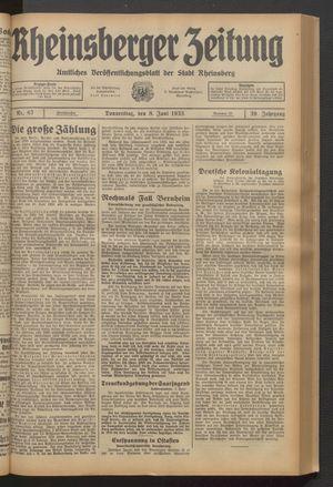 Rheinsberger Zeitung vom 08.06.1933