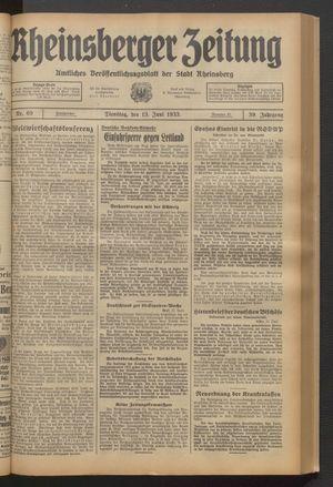 Rheinsberger Zeitung vom 13.06.1933