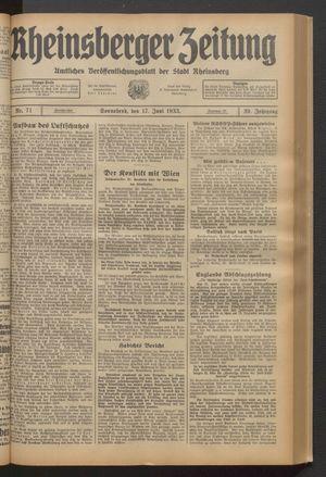 Rheinsberger Zeitung vom 17.06.1933