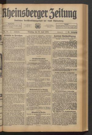 Rheinsberger Zeitung vom 20.06.1933