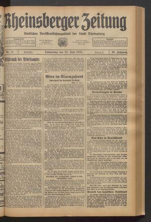 Rheinsberger Zeitung vom 22.06.1933