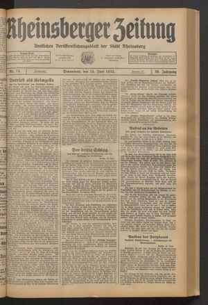 Rheinsberger Zeitung vom 24.06.1933