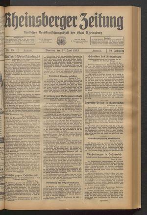 Rheinsberger Zeitung vom 27.06.1933