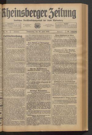 Rheinsberger Zeitung vom 29.06.1933