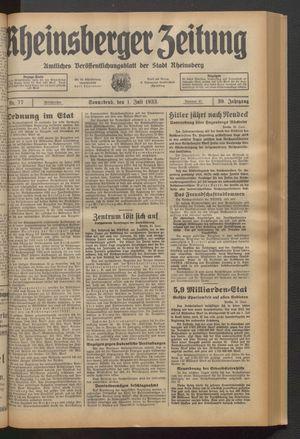 Rheinsberger Zeitung on Jul 1, 1933